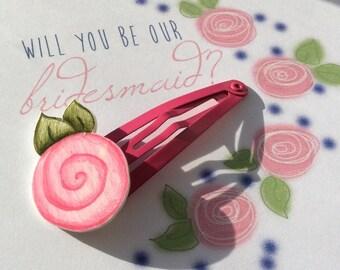 2 Hand drawn rose hairclips, pink, gift, wedding, bridesmaid, flower girl, little girl.