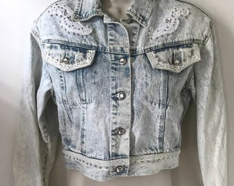 Vintage 80s Acid Washed Lace & Bedazzled Denim Jean jacket by Extra Blues
