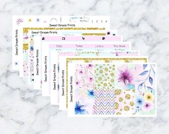 Pastel Water Colour Floral Sticker Kit aimed for the Erin Condren