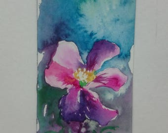 Bookmark in watercolor of a pink flower, original painting, nature, spring