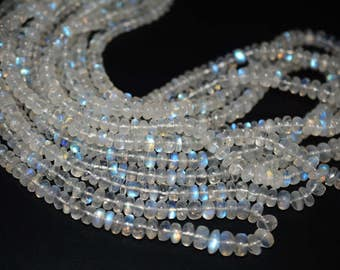 AA Quality Natural RAINBOW MOONSTONE Rondelle smooth \10 inch approx