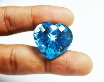 AAA Quality Natural Sky Blue Topaz Heart(finest polish and cut)