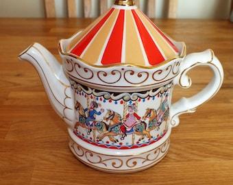 Collectible Vintage Sadler Edwardian Entertainments Carousel Teapot