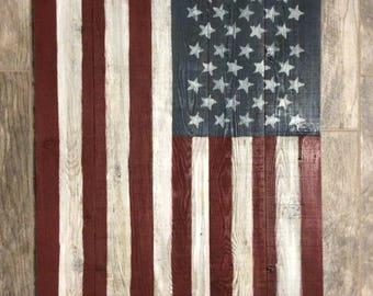 US flag on reclaimed wood
