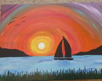 Sunset w/Sailboat 24x18 acrylic painting