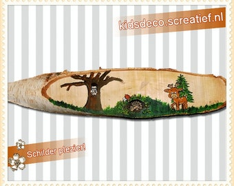 Tree bark platter with image
