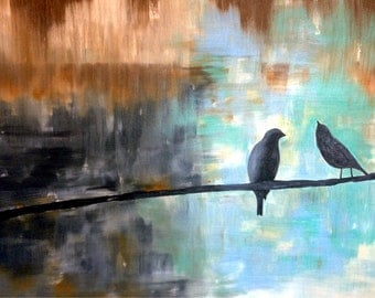 Oil on Gallery Canvas 'Lovebirds'