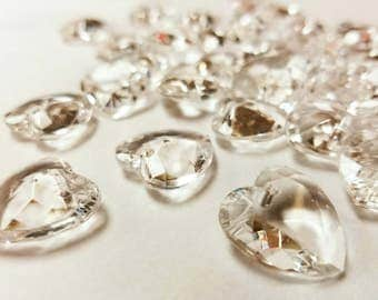 10 PK Heart Crystals , Acrylic Crystals About 20MM