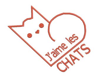 Embroidery pattern J love cats