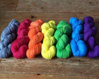 Hand dyed Stormy Rainbow set of 7 x 100g skeins of 4ply sock yarn*SALE*