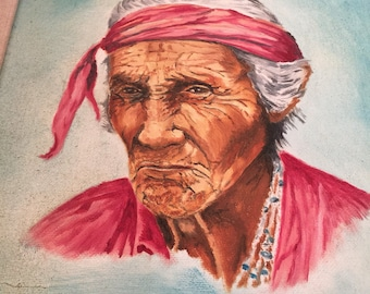 Painting of a Native American woman by K Bowman