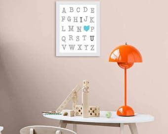 ABC English Alphabet, Baby Nursery Art, abc I Love You, Nursery Decor, Gender Neutral Decor, Baby Room Different sizes