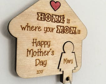 Personalised Mother's Day Little Gift Key Hanger with Keychain