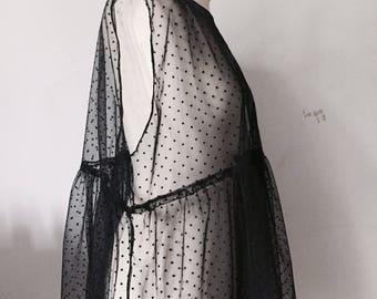 Handmade mesh gathered top