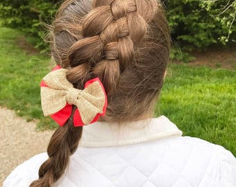 Coral Bow, Burlap Bow, Coral Hair Clip, Burlap Hair Bow, Western Hair Bow, Country Girl Bow, Cowgirl Bow, Country Western Bow, Horse Bow