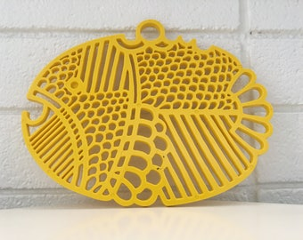 Dansk Gourmet Designs Yellow Fish Trivet / Wall Art (70s)