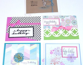 Beautiful Handmade BIRTHDAY GREETING CARDS New Set of 5 Cards - Stampin Up