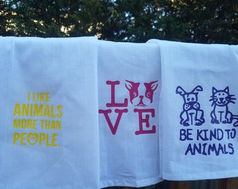 Animal love hand towels cotton. 50% of sale price goes to dog rescue, see description