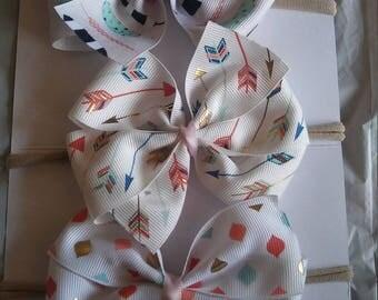 Set of 3 bow nylon headbands