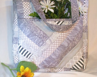 Gray and White Quilted Bag, Quilted Tote, Book Bag, Handmade Purse, Tote, Travel Bag, Diaper Bag, Carry-on