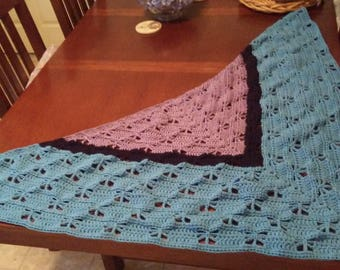Shawl/Wrap - Blue Color-Block Butterfly Shawl