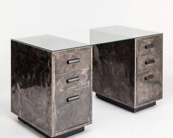 Industrial two pedestal metal desk with Bakelite handles and glass top - vintage