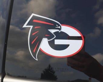 Atlanta Falcon & UGA Car Decal