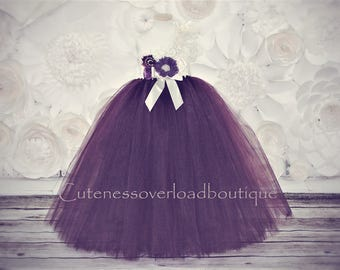 Plum Flower Girl Tutu Dress-Plum Tutu Dress-Plum Tutu Dress.Flower Girl Tutu Dress-Wedding Tutu Dress-Birthday Dress.