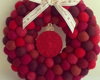 christmas wreath, felt balls, wool felt balls,  felt ball wreath, wreath, holiday wreath, christmas decoration, pom pom wreath, christmas