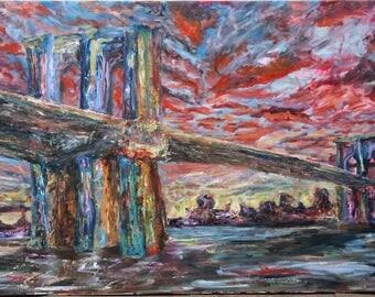 Oil painting on canvas Brooklyn bridge