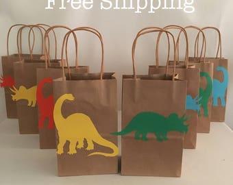 12 Dinosaur Brachiosaurus & Triceratops Party Bags Loot Goodie Totes