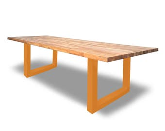 Solid Oak U-Frame Dining/Conference Table - ANY COLOUR -Bespoke, Handmade, Chic, Steel, Home Office, Meetings