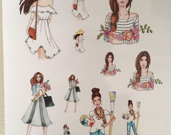 Stickers fashion girl
