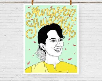 Aung San Suu Kyi Portrait Print, Feminist Art, Feminism, Giclee Art Print