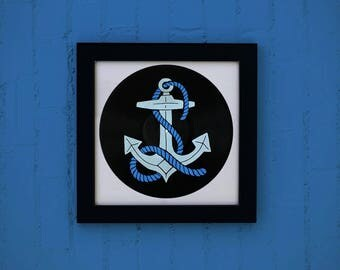 Marine illustration music / / Vintage vinyl screen anchor