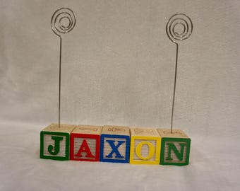 Personalized Baby Name Blocks, Baby Blocks Personalized, Photo Holder