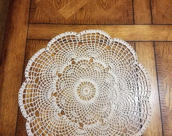 """Ivory colored Crochet Doily 20"""" Round"""