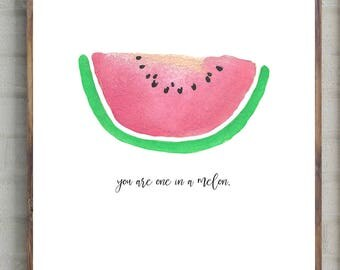 One in a melon, art print, wall art, home decor, wall decor, nursery, watermelon print, watermelon art print, playroom decor