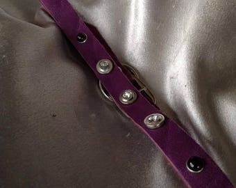 Beautiful thin, leather/rhinestone daily wear collar