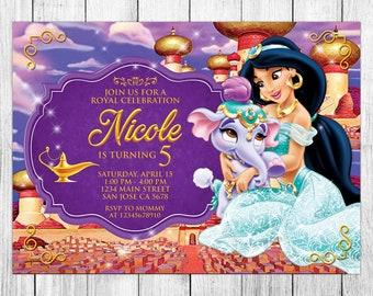 Lovely Princess Jasmine Invitation, Princess Jasmine Birthday Invitation, Princess  Jasmine Birthday Party, Princess Jasmine