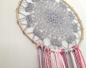 Crocheted Gray Dream Catcher