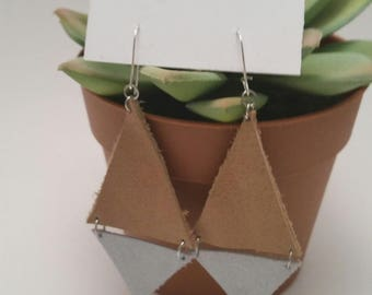 Tan and Silver Leather Triangle Earrings