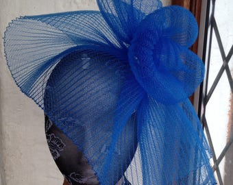 blue feather fascinator millinery burlesque headband wedding hat hair piece