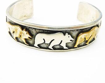 Wonderful Sterling Silver Bear Bangle Bracelet