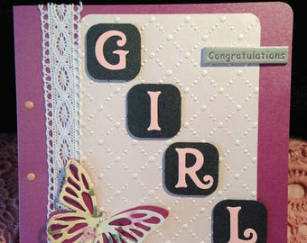 Handmade Baby Girl Card lace congratulations butterfly embelishments pink