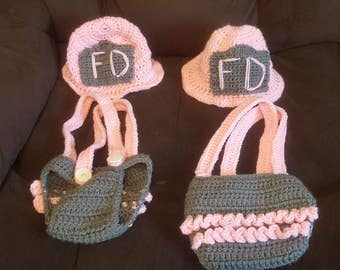 Girls Firefighter Hat and diaper cover set