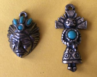 Two Vintage Sterling Silver Charms Turquoise Native American with Headdress and Kachina Dancer
