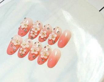 24 pcs nail set. Reusable fake nails, Japanese art nails, Press On Nails, Glue On Nails, Pink  False Nails, Any Shape, nail, Handpainted