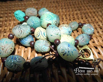 Necklace of polymer clay Archeology