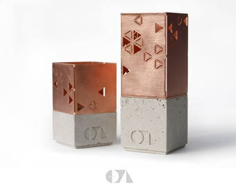 Concrete/copper tea light holder